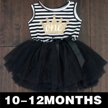 Baby Girl Clothes 2017 Girls Dresses Kids Princess Crown Print Dress For First Birthday Party Tutu Dress Children Kids Clothing