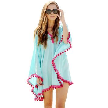 Casual Tassel Long Batwing Sleeve Chiffon Kimono Feminino Summer Beach V-neck Loose Blue Women Blouses Shirts Outerwear 40@8172!