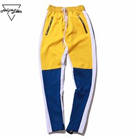 Color Block Patchwork Sweatpants Men Hip Hop Zipper Casual Pants Elastic Waist Streetwear