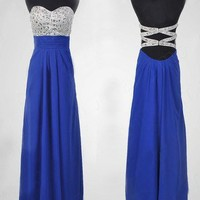 Fantastic Royal Blue A-line Sweetheart Floor Length Prom Dress  from SinoSpecial
