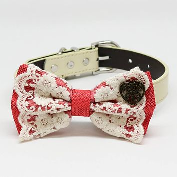 Coral dog bow tie collar, Lace, Charm Heart, Puppy Gift, Pet wedding accessory, Country Rustic