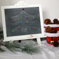 Tabletop Magnetic Chalkboard Easel - Large Framed Chalk Board - Shabby Chic Rustic - Holiday Decoration - Chalk Art