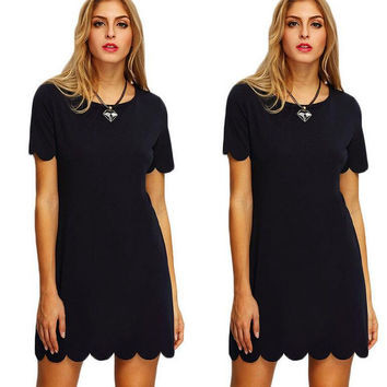 Black Wavy Hem Short Sleeve Dress