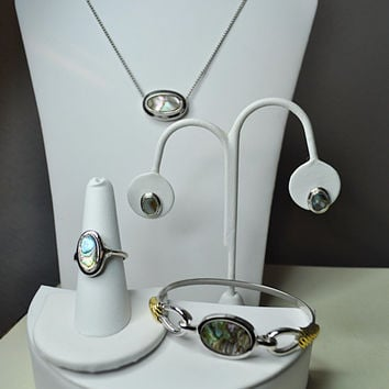 AVON Vintage 1978 Abalone and Silver, Grand Parure, Pendant Necklace, Bracelet, Pierced Earrings and Ring Set, Natural Beauty!  #A579