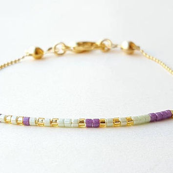 Tiny bracelet, thin bracelet, dainty bracelet, gold bracelet, tiny delicate, beaded bracelet, best friend gift, gift for her, miyuki