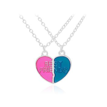 Best Friends BFF Necklaces For 2 Heart Shape Pink and Blue Keepsake Friendship Gifts Children Jewelry