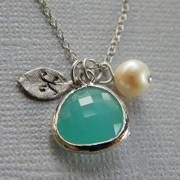 Personalized Bridesmaid Necklace Aqua and Sterling Silver -Wedding- Mothers Day Gift-Bridesmaid Gift