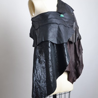 Leather Poncho Cape - Black Leather Caplet - Leather Top - Leather poncho - Leather Cape Jacket - Goth - Leather Clothing