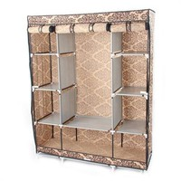 Brown Damask 65-inch Bedroom Wardrobe Closet Organizer Storage Unit