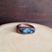 Moss Agate Ring - Green Statement Ring - Unique Ring - Raw Stone Ring - Copper Ring - Semiprecious Stone Ring - SIZE 7