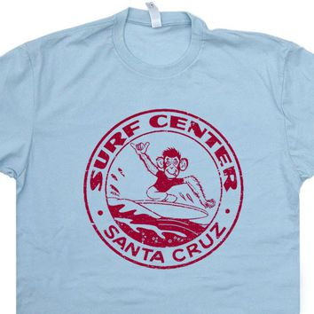 Santa Cruz Surf T Shirt Vintage Surfing Tees 80s Surfing T Shirt Surfing Monkey Shirt