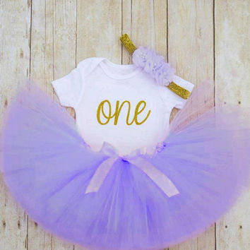 First Birthday Outfit, Primer Cumpleaños, Cake Smash Tutu, Purple Birthday Tutu, Gold One Shirt, Lavender Tutu, 1st Birthday Girl, Baby Tutu