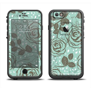 The Toned Green Vector Roses and Birds Apple iPhone 6 LifeProof Fre Case Skin Set