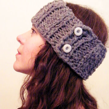 Hand Knitted Headband, Womens Button Ear Warmer Women Wool Headband Grey Chunky Knit Head band-Ready to Ship