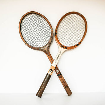 Vintage Wilson Tennis Rackets Set of Two / Antique Sports Decor