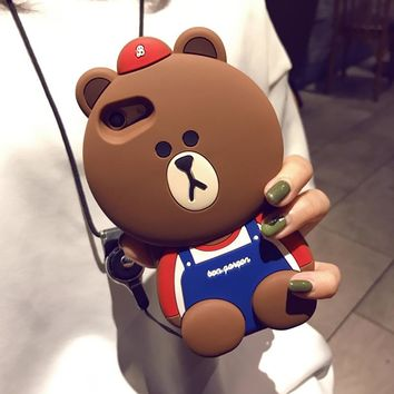 3D Cartoon Animals Joy Doll Cute Big Face bear Soft Silicone Back Cover For iphone 6 6plus 6s Plus 8 7 plus X Phone Cases