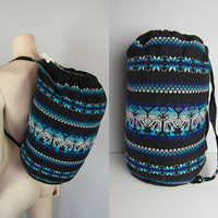 Vintage Tribal Embroidered Duffle Bag Hippie Backpack Boho Aztec Gypsy Rucksack Carry On Overnight Bag