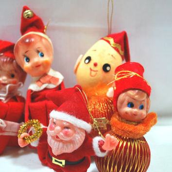 Japan Elf Pixie Knee Hugger and Elf Ball with Santa Claus Figurine , 1950 Ornaments for Christmas