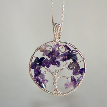 Wire wrapped amethyst tree of life pendant/Amethyst pendant/Amethyst necklace/Beautiful wire wrapped tree of life/Gemstone pendant