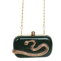 My Lucky Charm Snake Clutch Bag In Dark Green/Antique Gold Snake | Thirteen Vintage