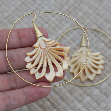 Mother of Pearl Earrings,  Brass Earrings, Hoop Earrings, Bali Unique Handmade Jewelry