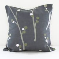 Slate grey cushion cover, 16 inch 40 cms Ashley Wilde Sovann fabric in topaz pillow cover, grey olive green branches throw pillow uk seller