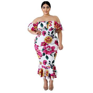 Off the shoulder Mermaid White Floral Plus Size Dress