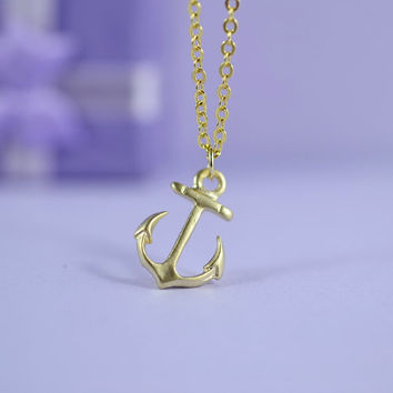 Petite Anchor Necklace, Gold Plated Brass Pendant, Delicate Chain, Everyday Wear, Perfect Gift, also in Rhodium Plated