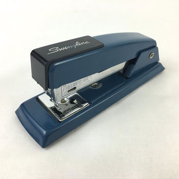 Swingline 711 Blue & Black Metal Desk Stapler Vintage Mid Century Metal Office Tools Colorful Office Supplies Made in USA