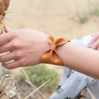 Bow Bracelet Cuff Caramel Tan Camel Bridesmaid Faux Leather Vegan Doctor Who Tie Bowtie Scarf Wide Womens