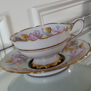 Antique Royal Stafford Morning Glory gold and black tea cup and saucer, pink floral English tea set, wedding, gift for mom, mother's day