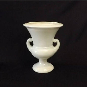 ON SALE - Mid Century Haeger Urn Vase, Cream Ware Pottery
