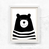 Bear illustration, Nursery wall art, Children's print, Black and white, Bear printable, Kids print, Digital download, Poster, 8x10, 11x14