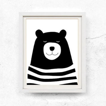 Bear Ilration Nursery Wall Art Children S Print Black And White Printable