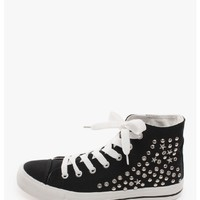 Black Seeing Stars High Top Canvas Sneakers   $11.50   Cheap Trendy Sneakers Chic Discount Fashion
