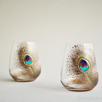CRYSTAL Stemless Wine Glasses, Peacock Glasses, Wedding Glasses, Copper Glasses, HAND PAINTED, set of 2