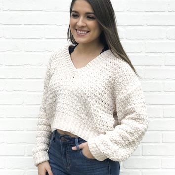 Chenille Crop Sweater- Ivory