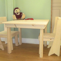 Children's Table and chairs wooden unfinished pine