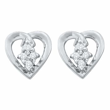 10kt White Gold Women's Round Diamond Heart Cluster Stud Earrings 1-12 Cttw - FREE Shipping (US/CAN)