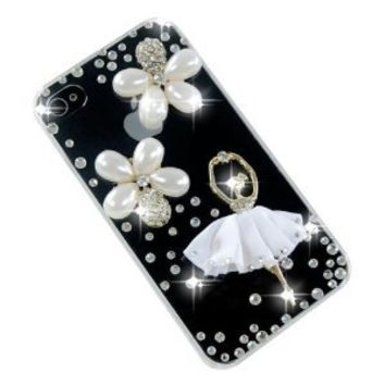 Bling Handmade Flower Ballerina Pearls Crystals Case Cover for Iphone 4s & 4 Verizon AT&T Sprint