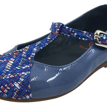 BluBlonc Girl's Denim Blue Patent Leather T-Strap Mosaic Printed Mary Jane Flat Shoe