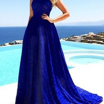 Blue Floral Lace Sleeveless Maxi Dress