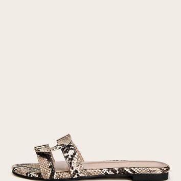 Cut Out Snakeskin Print Flat Sliders