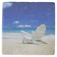 Beach Chair on Empty Beach Stone Coaster