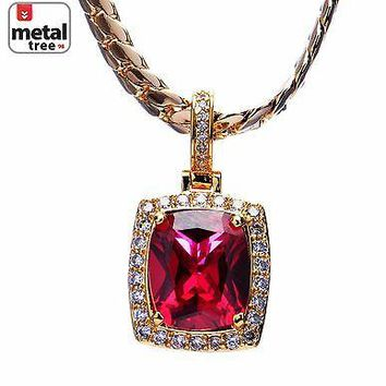 Jewelry Kay style 14K Plated Iced Out Men's Red Ruby Pendant Miami Cuban Chain Necklace MBP 572 RD