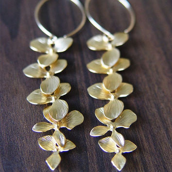 Orchid Flower Silver Earrings