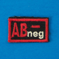 Blood Group Type AB Negative AB- Biker medical Information Patch for Vest Jacket