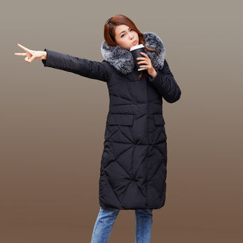 new fashion 2016 womens winter down jackets and coats with fox fur collar women High Quality Warm Female thickening Warm Parka