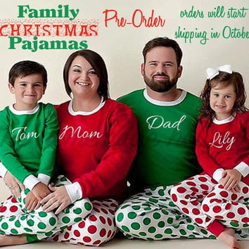 Family Polka Dot Christmas Pajama Set