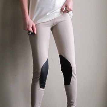 Horse riding leggings - bohemian prairie style, light brown cotton spandex  - medium
